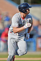 Lakewood BlueClaws right fielder Dylan Cozens #8 runs to first during a game against the Asheville Tourists at McCormick Field on May 3, 2014 in Asheville, North Carolina. The BlueClaws defeated the Tourists 7-4. (Tony Farlow/Four Seam Images)
