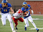 BROOKINGS, SD - MARCH 13: Pierre Strong Jr. #20 of the South Dakota State Jackrabbits tries to scamper past the tackle of Malick Mbodj #11 of the Youngstown State Penguins at Dana J. Dykhouse Stadium on March 13, 2021 in Brookings, South Dakota. (Photo by Dave Eggen/Inertia)