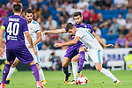 Theo Hernandez (front) of Real Madrid fights for the ball with Marco Benassi of ACF Fiorentina during the Santiago Bernabeu Trophy 2017 match between Real Madrid and ACF Fiorentina at the Santiago Bernabeu Stadium on 23 August 2017 in Madrid, Spain. Photo by Diego Gonzalez / Power Sport Images