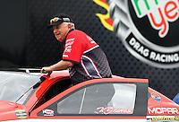 Feb 9, 2014; Pomona, CA, USA; NHRA pro stock driver V. Gaines during the Winternationals at Auto Club Raceway at Pomona. Mandatory Credit: Mark J. Rebilas-