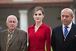 Queen Letizia of Spain, awarded writer Juan Goytisolo and Culture Minister Ignacio Wert (R) during `2014 Cervantes Award´ at Alcala de Henares University in Alcala de Henares, Spain. April 23, 2015. (ALTERPHOTOS/Victor Blanco)