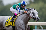 ELMONT, NY - OCTOBER 08: Javier Castelano, atop Anchor Down #4, crossing the finish line and winning the 36th Running of The Kelso, on Jockey Club Gold Cup Day at Belmont Park on October 8, 2016 in Elmont, New York. (Photo by Douglas DeFelice/Eclipse Sportswire/Getty Images)