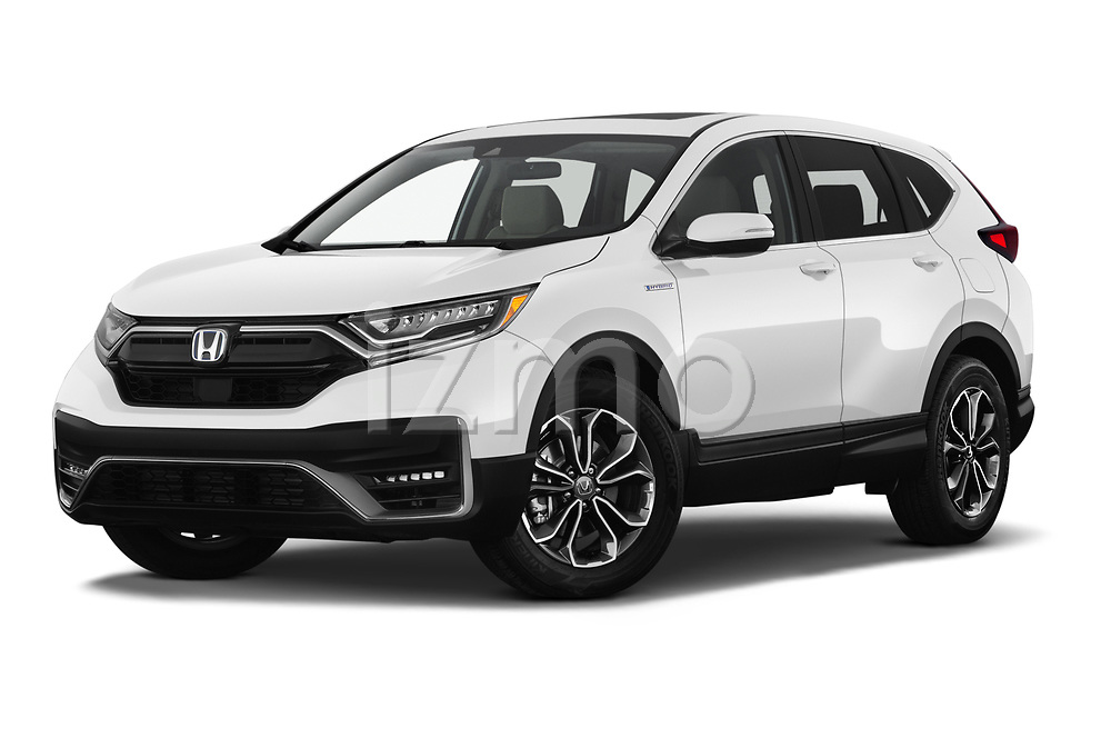 Stock pictures of low aggressive front three quarter view of 2021 Honda CR-V-Hybrid EX 5 Door SUV Low Aggressive