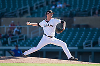 Salt River Rafters relief pitcher Kyle Keller (40), of the Miami Marlins organization, delivers a pitch during an Arizona Fall League game against the Surprise Saguaros at Salt River Fields at Talking Stick on November 5, 2018 in Scottsdale, Arizona. Salt River defeated Surprise 4-3 . (Zachary Lucy/Four Seam Images)