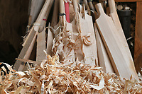 BNPS.co.uk (01202) 558833<br /> Pic: ZacharyCulpin/BNPS<br /> <br /> Willow shavings in the Keeley workshop<br /> <br /> Master bat maker Tim Keeley is putting the finishing touches to his beautifully hand-crafted pieces of willow ahead of the forthcoming cricket season.<br /> <br /> Tim, 62, has made almost half a million bats since starting out as an apprentice at Gray Nicholls aged 16 in 1975.<br /> <br /> He is the founder of family business Keeley Cricket, in Battle, East Sussex, which he runs with his brother Nick who has 35 years of bat-making experience.