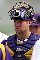 LSU Tigers catcher Jordy Snikeris #20 before the continuation of their suspended NCAA Super Regional baseball game against Stony Brook on June 9, 2012 at Alex Box Stadium in Baton Rouge, Louisiana. LSU defeated Stony Brook 5-4 in 12 innings. (Andrew Woolley/Four Seam Images)