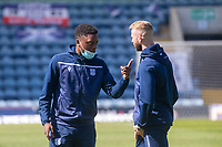 24th April 2021; Dens Park, Dundee, Scotland; Scottish Championship Football, Dundee FC versus Raith Rovers; Jonathan Afolabi and Christie Elliott of Dundee talk as they inspect the pitch before the match