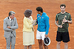 British player Andy Murray winner and Spanish tennis player Rafael Nadal, finalist, in presence of Manolo Santana and Queen Sofia of Spain after Madrid Open Tennis 2015 Final match.May, 10, 2015.(ALTERPHOTOS/Acero)