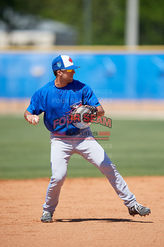 Toronto Blue Jays Kevin Smith (10) during a Minor League Spring Training Intrasquad game on March 14, 2018 at Englebert Complex in Dunedin, Florida.  (Mike Janes/Four Seam Images)