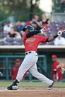 Brandon Jacobs #24 of the Visalia Rawhide bats against the Inland Empire 66ers at San Manuel Stadium on June 12, 2014 in San Bernardino, California. Inland Empire defeated Visalia, 4-2. (Larry Goren/Four Seam Images)