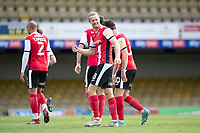 Alex Fisher of Exeter City with clenched fist celebrates the equalising goal in stoppage time during Southend United vs Exeter City, Sky Bet EFL League 2 Football at Roots Hall on 10th October 2020