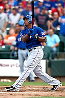 "Texas Rangers third baseman Adrian Beltre #29 watches his first inning home run during the MLB exhibition baseball game against the ""AAA"" Round Rock Express on April 2, 2012 at the Dell Diamond in Round Rock, Texas. The Rangers out-slugged the Express 10-8. (Andrew Woolley / Four Seam Images)."