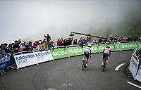 World Champion Julian Alaphilippe (FRA/Deceuninck - QuickStep) & Kenny Elissonde (FRA/Trek-Segafredo) up Luz Ardiden<br /> <br /> Stage 18 from Pau to Luz Ardiden (130km)<br /> 108th Tour de France 2021 (2.UWT)<br /> <br /> ©kramon