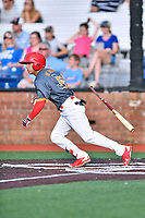Johnson City Cardinals center fielder Jonatan Machado (51) swings at a pitch during a game against the Pulaski Yankees at TVA Credit Union Ballpark on July 7, 2018 in Johnson City, Tennessee. The Cardinals defeated the Yankees 7-3. (Tony Farlow/Four Seam Images)