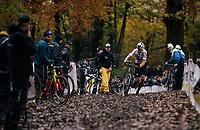 CX World Champion Wout Van Aert (BEL/Cibel-Cebon) changing bikes in the pits<br /> <br /> Men's race<br /> Superprestige Asper-Gavere 2018 (BEL)
