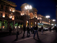 Galleria Vittorio Emanuelle and Piazza Duomo at night, Milan, Ital