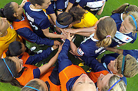 Sky Blue FC players huddle before the match. Sky Blue FC defeated the Seattle Reign FC 2-0 during a National Women's Soccer League (NWSL) match at Yurcak Field in Piscataway, NJ, on May 11, 2013.