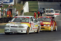 Round 10 of the 1991 British Touring Car Championship. #5 John Cleland (GBR). Vauxhall Sport. Vauxhall Cavalier. #1 Robb Gravett (GBR). Trakstar Motorsport. Ford Sierra Sapphire.