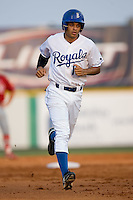 Burlington right fielder Alwin Perez (13) rounds the bases following his solo home run in the bottom of the 3rd inning versus Johnson City at Burlington Athletic Park in Burlington, NC, Saturday, August 25, 2007.