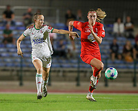 Sari Kees (2) of OHL and Marie Bougard (10) of Woluwe in action during a female soccer game between FC Femina White Star Woluwe and Oud Heverlee Leuven on the fourth matchday in the 2021 - 2022 season of Belgian Scooore Womens Super League , Friday 10 th of September 2021  in Woluwe , Belgium . PHOTO SPORTPIX   SEVIL OKTEM