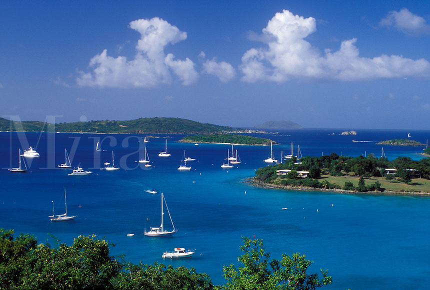U.S. Virgin Islands, St. John, Caribbean, USVI, Scenic view of Caneel Bay on Saint John Island.