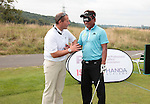 ISPS Handa Wales Open 2013<br /> Celtic Manor Resort<br /> Defending champion Thongchai Jaidee taking part in a golf clinic organised by tournament sponsor ISPS Handa.<br /> 28.08.13<br /> <br /> ©Steve Pope-Sportingwales