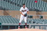 Salt River Rafters relief pitcher Devin Smeltzer (41), of the Minnesota Twins organization, gets ready to deliver a pitch an Arizona Fall League game against the Surprise Saguaros at Salt River Fields at Talking Stick on October 23, 2018 in Scottsdale, Arizona. Salt River defeated Surprise 7-5 . (Zachary Lucy/Four Seam Images)