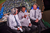 1 April 2016: Hall of Fame pitcher for the Boston Red Sox and Montreal Expos Pedro Martinez is interviewed in the broadcast booth during a pre-season exhibition series between the Toronto Blue Jays and the Red Sox at Olympic Stadium in Montreal, Quebec, Canada. The Red Sox defeated the Blue Jays 4-2 in the first of two MLB weekend games, which saw an attendance of 52,682 at the former home on the Montreal Expos. Mandatory Credit: Ed Wolfstein Photo *** RAW (NEF) Image File Available ***