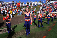 Oct 30, 2010; Charlottesville, VA, USA;  Virginia Cavalier cheerleaders cheer on the fans during the game against the Miami Hurricanes at Scott Stadium. Virginia won 24-19. Mandatory Credit: Andrew Shurtleff