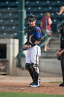 Missoula Osprey catcher Zachery Almond (9) during a Pioneer League game against the Orem Owlz at Ogren Park Allegiance Field on August 19, 2018 in Missoula, Montana. The Missoula Osprey defeated the Orem Owlz by a score of 8-0. (Zachary Lucy/Four Seam Images)
