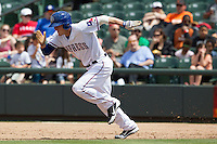 Round Rock Express outfielder Jim Aducci #24 takes off to steal second base New Orleans Zephyrs in the Pacific Coast League baseball game on April 21, 2013 at the Dell Diamond in Round Rock, Texas. Round Rock defeated New Orleans 7-1. (Andrew Woolley/Four Seam Images).