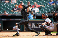 Austin Martin (16) of the Vanderbilt Commodores follows through on his swing against the Sam Houston State Bearkats in game one of the 2018 Shriners Hospitals for Children College Classic at Minute Maid Park on March 2, 2018 in Houston, Texas. The Bearkats walked-off the Commodores 7-6 in 10 innings.   (Brian Westerholt/Four Seam Images)