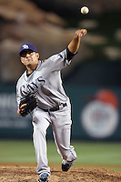 Tampa Bay Rays pitcher Cesar Ramos #27 pitches against the Los Angeles Angels at Angel Stadium on June 18, 2011 in Anaheim,California. (Larry Goren/Four Seam Images)