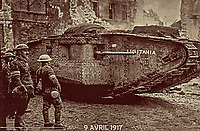 British World War I tank at The Battle of Arras. 9th April 1917