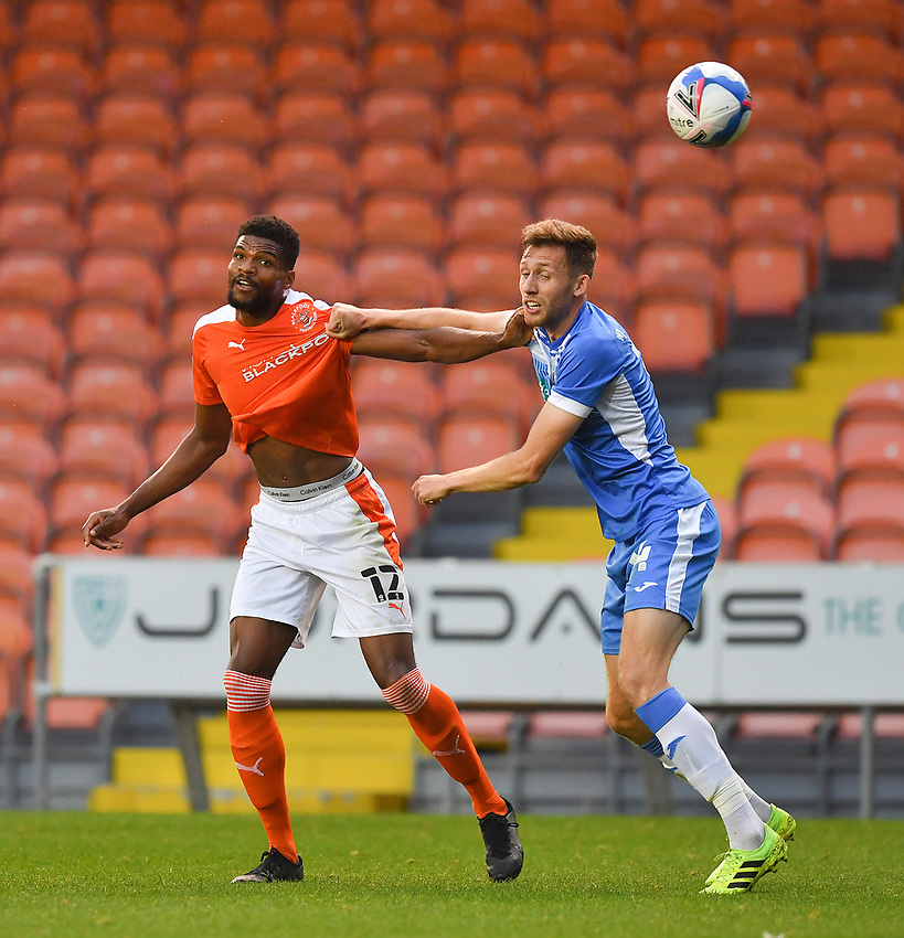 Blackpool's Michael Nottingham battles with Barrow's James Jones<br /> <br /> Photographer Dave Howarth/CameraSport<br /> <br /> EFL Trophy Northern Section Group G - Blackpool v Barrow - Tuesday 8th September 2020 - Bloomfield Road - Blackpool<br />  <br /> World Copyright © 2020 CameraSport. All rights reserved. 43 Linden Ave. Countesthorpe. Leicester. England. LE8 5PG - Tel: +44 (0) 116 277 4147 - admin@camerasport.com - www.camerasport.com