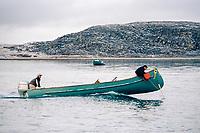 Inuit men hunting beluga whales, Delphinapterus leucas, from a canoe. Cape Dorset, Baffin Island, Nunavut, Canada, Arctic
