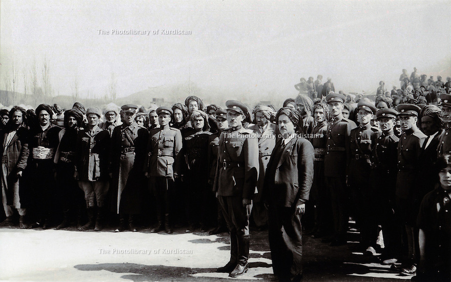 Iran 1946 In front,right,Saddik Haidari,minister of Media and Information, next, Mohammed Nanawazadeh , chief of staff of the Republic of Kurdistan in Mahabad .<br />