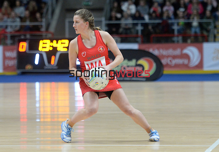 Wales Bethan Dyke in action during todays match   <br /> <br /> Swansea University International Netball Test Series: Wales v New Zealand<br /> Ice Arena Wales<br /> 08.02.17<br /> ©Ian Cook - Sportingwales