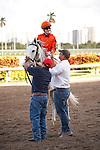 Tapitsfly with jockey Julien Leparoux  after winning the Honey Fox Stakes(G2T) at Gulfstream Park. Hallandale Beach, Florida. 03-18-2012