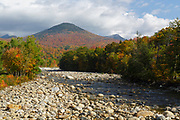 Autumn foliage on Big Coolidge Mountain from along the East Branch of the Pemigewasset River in Lincoln, New Hampshire on an autumn day. This mountain was logged during the East Branch & Lincoln Railroad era (1893-1948).