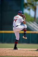 Jacksonville Jumbo Shrimp relief pitcher Elvis Araujo (34) during a Southern League game against the Tennessee Smokies on April 29, 2019 at Baseball Grounds of Jacksonville in Jacksonville, Florida.  Tennessee defeated Jacksonville 4-1.  (Mike Janes/Four Seam Images)
