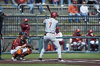 Cody Morissette (7) of the Boston College Eagles at bat against the Virginia Tech Hokies at English Field on April 3, 2021 in Blacksburg, Virginia. (Brian Westerholt/Four Seam Images)