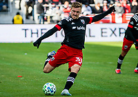 WASHINGTON, DC - FEBRUARY 29: Julian Gressel #31 of DC United takes a shot during a game between Colorado Rapids and D.C. United at Audi Field on February 29, 2020 in Washington, DC.