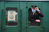 BNPS.co.uk (01202 558833)<br /> Pic: ZacharyCulpin/BNPS<br /> <br /> Good to go train guard Trevor Parsons<br /> <br /> Full steam ahead for Swanage Railway reopening after lockdown<br /> <br /> Volunteers are gearing up for the reopening of one of Britain's most popular heritage railways.<br /> <br /> Swanage Railway in Dorset will resume running steam trains on Monday after the government gave the green light to easing coronavirus restrictions.<br /> <br /> The Purbeck railway has spent the fallow period by doing essential maintenance work on the locomotives, tracks and signals.<br /> <br /> They are attempting to raise £65,000 to complete a new carriage shed to store ten carriages which was interrupted by the pandemic.