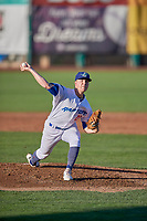 Ogden Raptors starting pitcher Kevin Malisheski (28) delivers a pitch to the plate against the Rocky Mountain Vibes at Lindquist Field on July 6, 2019 in Ogden, Utah. The Vibes defeated the Raptors 7-2. (Stephen Smith/Four Seam Images)