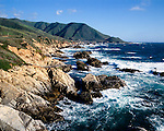 Mountains meet the sea on Scenic Highway 1, Central Coast of California.A National Scenic Byway