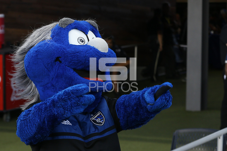 SAN JOSE, CA - AUGUST 03: Mascot  during a Major League Soccer (MLS) match between the San Jose Earthquakes and the Columbus Crew on August 03, 2019 at Avaya Stadium in San Jose, California.