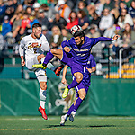 5 October 2019: University of Vermont Catamount Defender Adrian Gahabka, a Senior from Passau, Germany, in action against University at Albany Great Dane Midfielder Konstantinos Louvaris, a Senior from Nicosia, Cyprus, on Virtue Field in Burlington, Vermont. The Catamounts fell to the visiting Danes 3-1 in America East, Division 1 play. Mandatory Credit: Ed Wolfstein Photo *** RAW (NEF) Image File Available ***