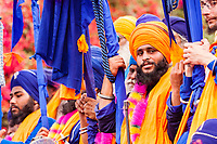 Asia,India,Punjab, Anandpur Sahib, sikh devote Nihang with their turbans  and wepons to the Holla Mohalla annual festival