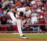 Pitcher Tyler Webb (38) of the South Carolina Gamecocks in a game against the Clemson Tigers on March 3, 2012, at Carolina Stadium in Columbia, South Carolina. (Tom Priddy/Four Seam Images)